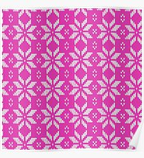 Knitted Snowflake Pink Poster
