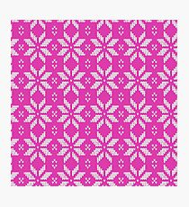 Knitted Snowflake Pink Photographic Print