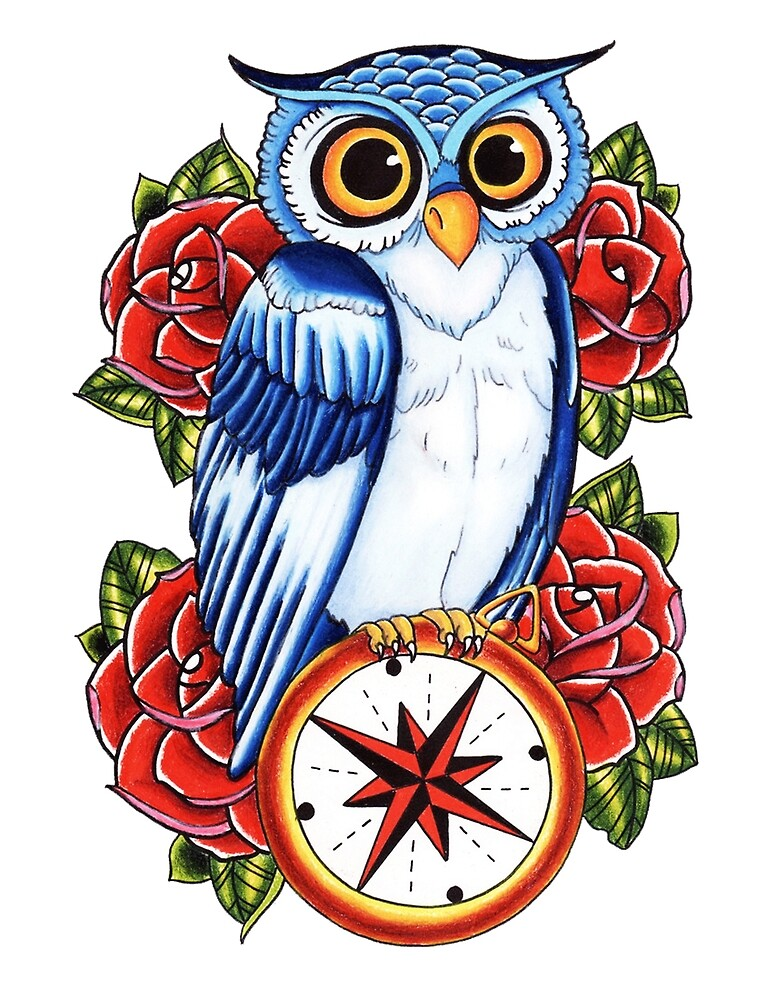 Quot Owl Compass Rose Tattoo Design Quot By Drtattoo Redbubble