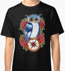Owl Compass Rose tattoo design Classic T-Shirt