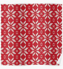 Knitted Snowflake Red Poster