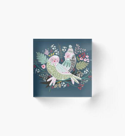 Holiday Birds Love II Acrylic Block