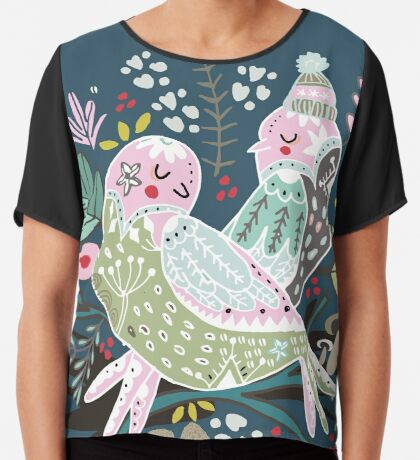 Holiday Birds Love II Chiffon Top