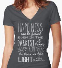 Turn on the Light - White Version Women's Fitted V-Neck T-Shirt