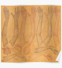 Hands Chart in Gold Poster