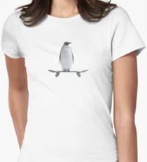 Penguin Skateboard Women's Fitted T-Shirt