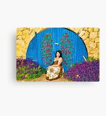 Girl and old painted gate.jpg Canvas Print
