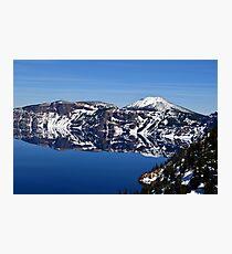 Mt Scott Peaking Over the Rim of Crater Lake Photographic Print