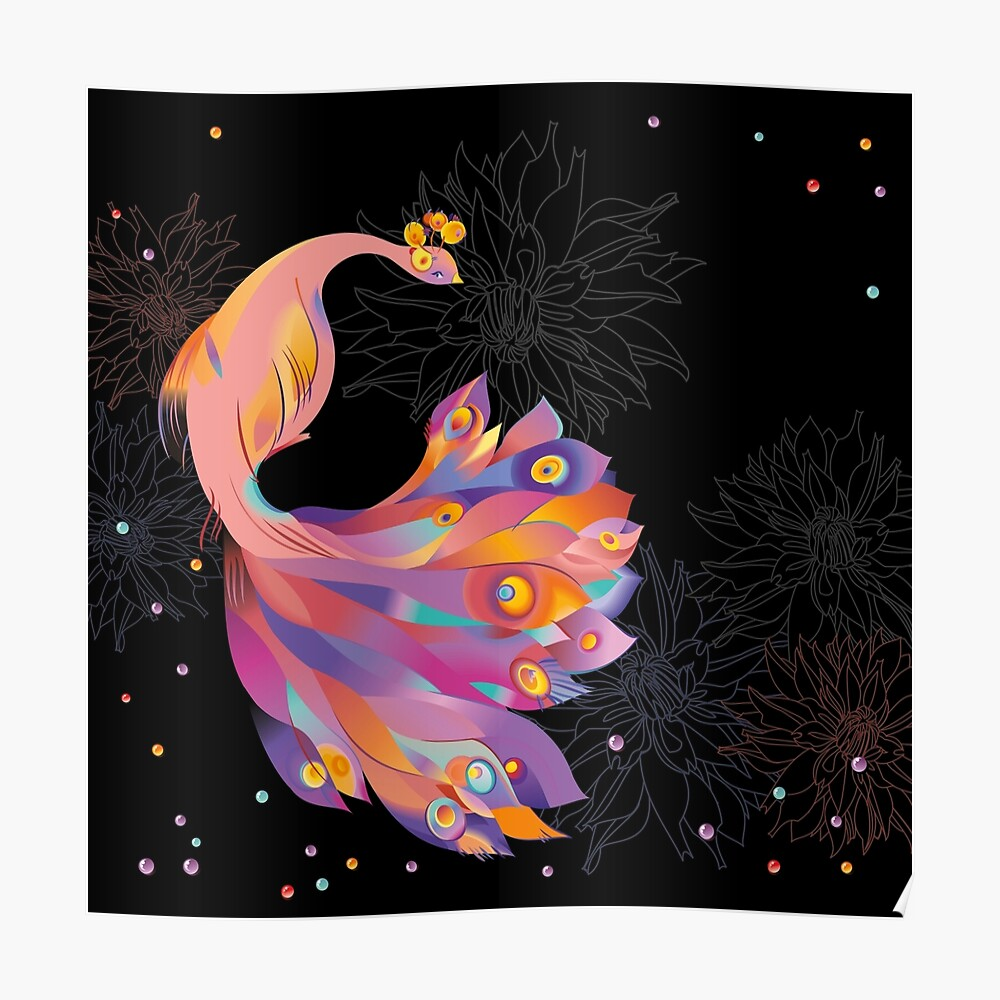 Pink Peacock Poster