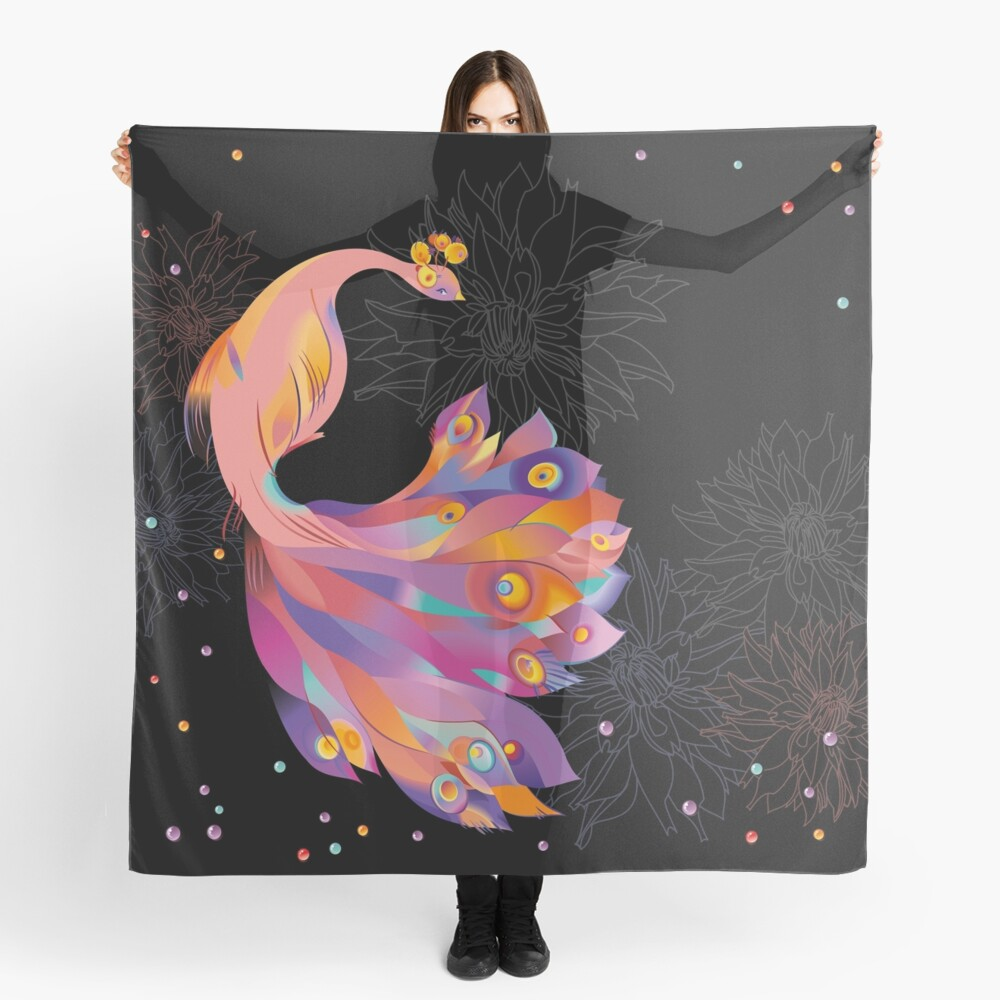 Pink Peacock Scarf