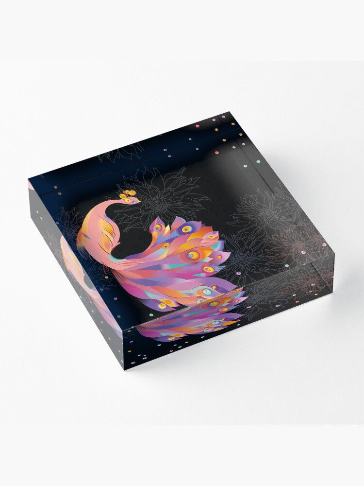 Alternate view of Pink Peacock Acrylic Block