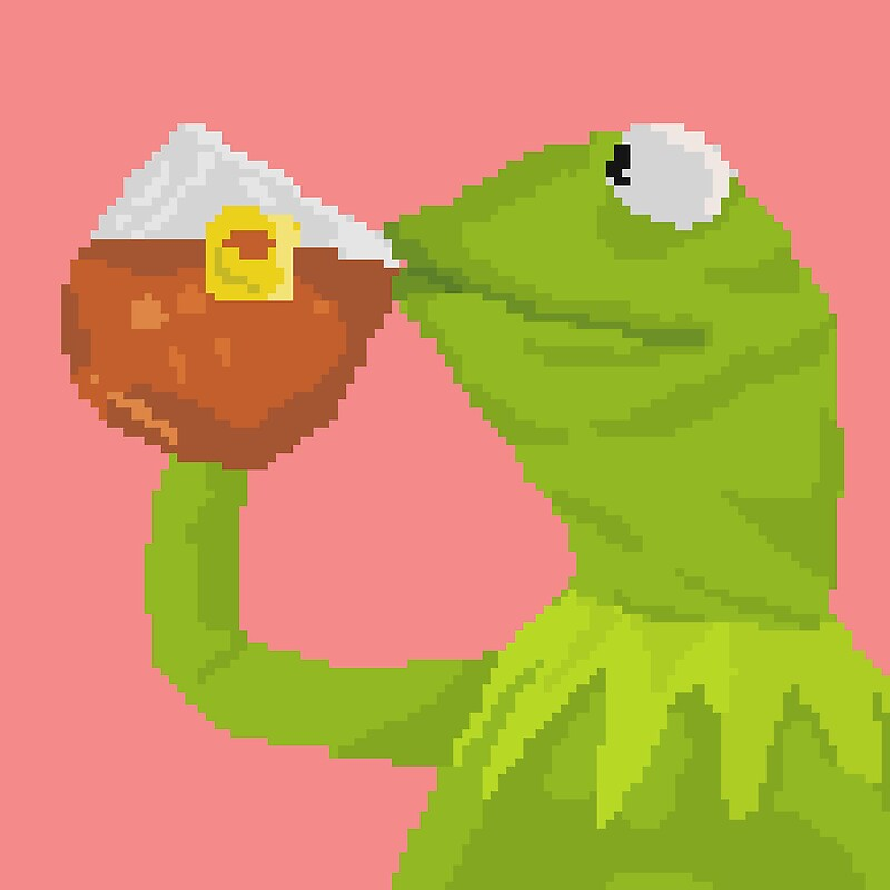 """Kermit The Frog Tea Pixel Art Sticker"" Stickers By Sdotj"