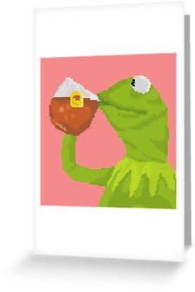 Kermit The Frog Tea Pixel Art Sticker Greeting Cards By Sdotj
