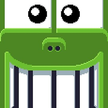 Green smiling monster face by agateau