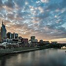 Nashville skyline from ped bridge at dusk  by Sven Brogren