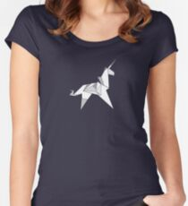 Origami Unicorn  Women's Fitted Scoop T-Shirt