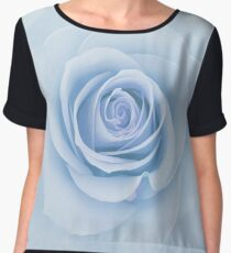 Soft Baby Blue Rose Abstract Women's Chiffon Top