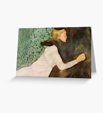 the bear submitted to her love, and if he growled she only laughed Greeting Card