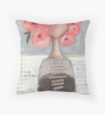 Pink flowers in her hair Throw Pillow
