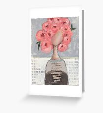 Pink flowers in her hair Greeting Card