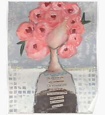 Pink flowers in her hair Poster