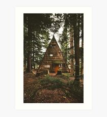 A-Frame Cabin in the Woods Art Print