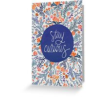 Stay Curious – Navy & Coral Greeting Card