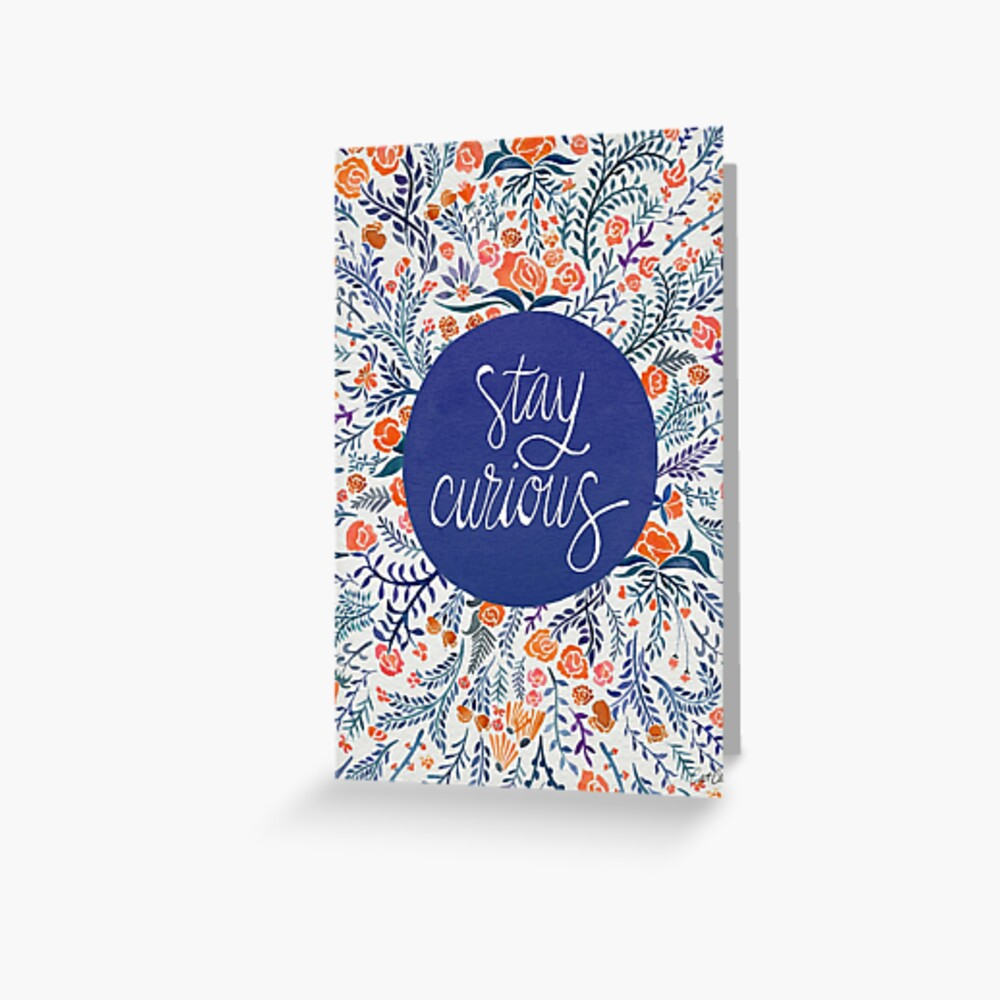 Stay Curious – Navy & Coral Grußkarte