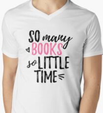 so many books (in pink) Men's V-Neck T-Shirt