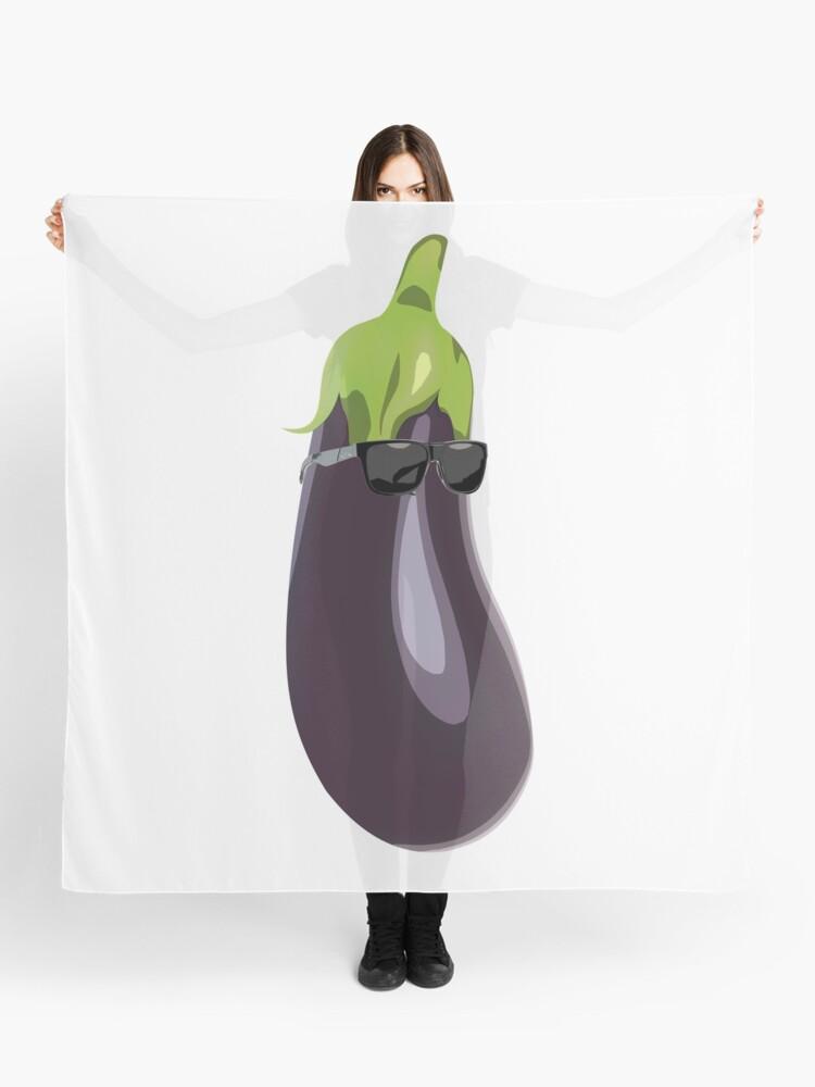 Eggplant Emoji Sunglasses T-Shirt – Popular Emoticons Aubergine | Scarf