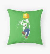 Luigi Paint Splatter Shirt Throw Pillow