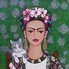 Frida cat lover closer by Madalena Lobao-Tello