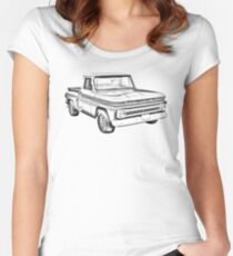 1965 Chevrolet Pickup Truck Illustration Women's Fitted Scoop T-Shirt