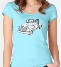 1950 Chevrolet Flat Bed Pickup Truck Illustration Women's Fitted Scoop T-Shirt