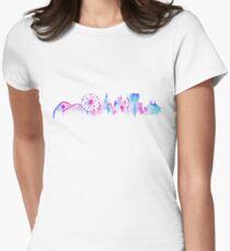 Camiseta entallada para mujer Parque temático mágico de California Silueta de horizonte acuarela