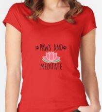 Paws And Meditate Cute Dog Lover Animal Yoga T-Shirt Women's Fitted Scoop T-Shirt