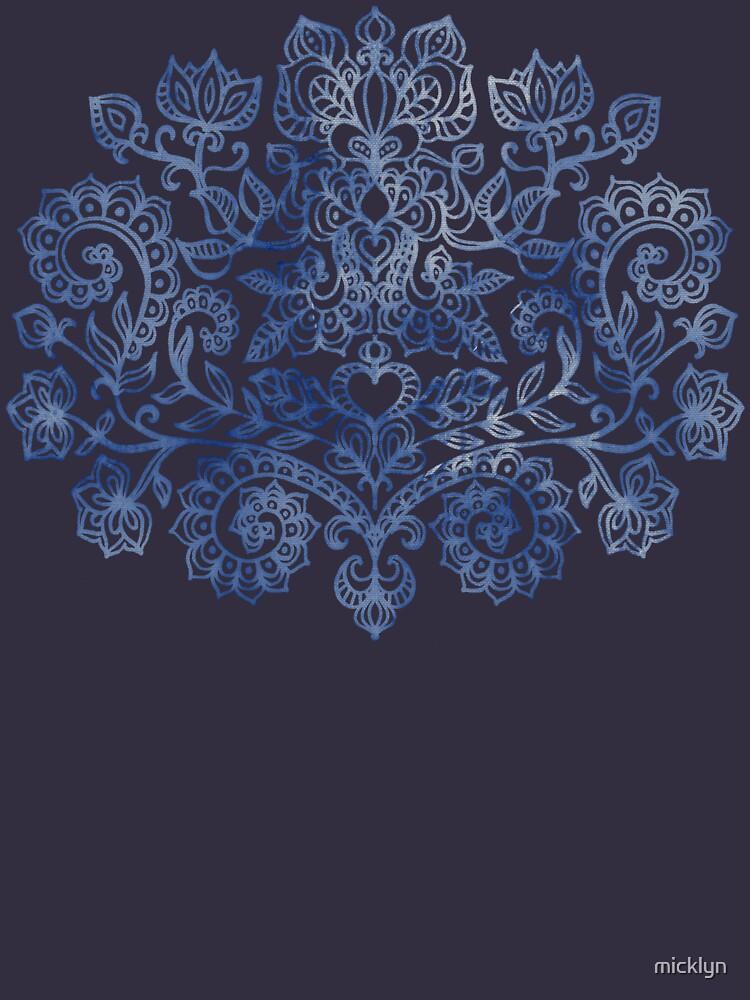 Indigo Blue Denim Ink Doodle de micklyn