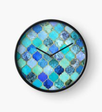 Cobalt Blue, Aqua & Gold Decorative Moroccan Tile Pattern Clock