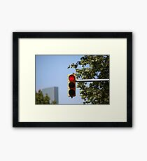 red traffic light intersection Framed Print
