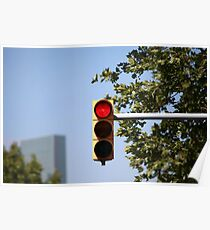 red traffic light intersection Poster