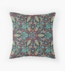 Floral mandala abstract pattern design by Somberlain Throw Pillow