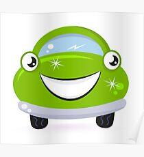 Happy green cute cartoon auto : Product design Poster