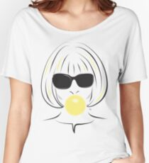 Anna Wintour Bubble Gum Portrait illustration Women's Relaxed Fit T-Shirt