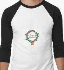 Christmas wreath Men's Baseball ¾ T-Shirt