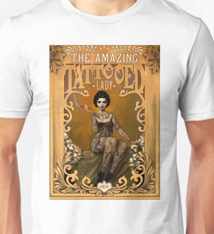 TATTOOED LADY; Vintage Advertising Print Unisex T-Shirt