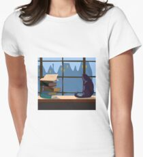 Illustration with cat Women's Fitted T-Shirt