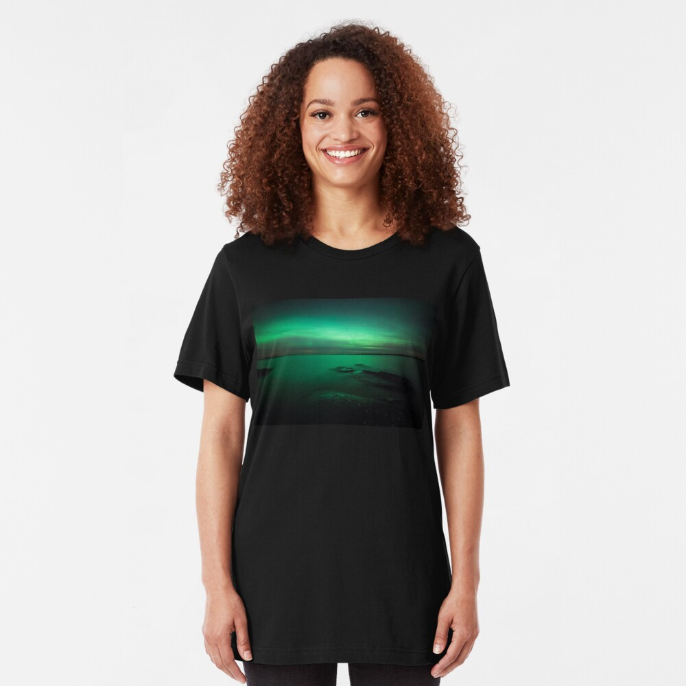 Mystic northern lights glow Slim Fit T-Shirt