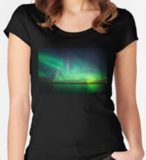Northern lights over lake Women's Fitted Scoop T-Shirt