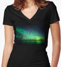 Northern lights over lake Women's Fitted V-Neck T-Shirt