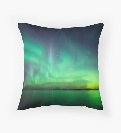 Northern lights over lake Throw Pillow